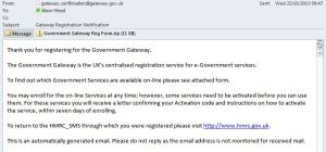 HMRC Spam Message