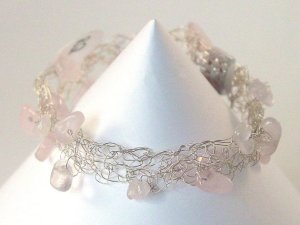 Rose Quartz Cobweb Bracelet - Unconditional Love