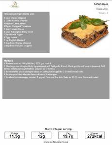 Main Meal 272 Calories